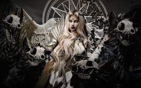 Картинка девушка, лицо, рендеринг, волосы, демон