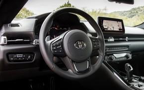 Картинка купе, интерьер, Toyota, салон, Supra, пятое поколение, mk5, двухместное, 2019, рулевое колесо, GR Supra, A90, …