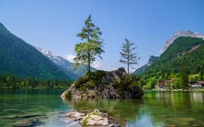 Картинка лес, небо, солнце, деревья, горы, камни, скалы, берег, дома, Германия, Бавария, Berchtesgadener Land