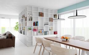 Картинка интерьер, библиотека, гостиная, столовая
