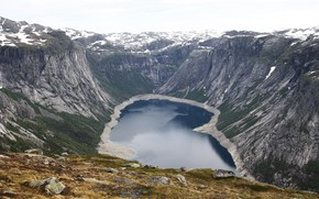 Картинка снег, горы, озеро, водопад, NORWAY