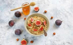 Картинка завтрак, мёд, breakfast, инжир, овсянка