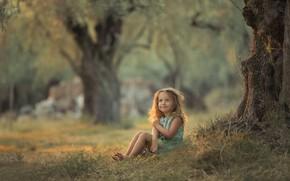 Картинка лето, трава, деревья, природа, девочка, малышка, ребёнок, Chudak Irena