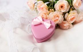 Картинка подарок, розы, букет, сердечко