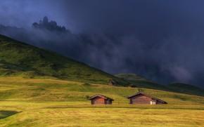 Картинка горы, туман, дома