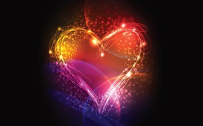 Картинка colors, colorful, love, lines, mood, rendering, digital art, black background, Heart, simple background, heart shaped