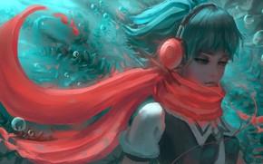 Картинка девушка, рыбки, наушники, Fuuka, by Yumenoki, Fuuka Akitsuki