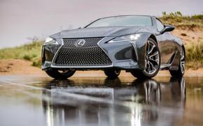 Картинка дорога, car, машина, деревья, тучи, дождь, черный, Lexus, автомобиль, road, asphalt, Lexus LC 500