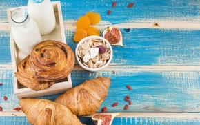 Картинка еда, завтрак, молоко, булочки, milk, инжир, сухофрукты