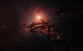 Картинка Звезды, Космос, Туманность, Звезда, Волк, Star, Stars, Space, Nebula, Wolf, Surreal, Justin Cherry, by Justin …