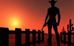 Картинка desert, sunset, cowboy, Silhouettes
