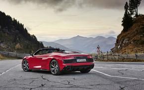 Картинка горы, Audi, Audi R8, вид сзади, Spyder, V10, 2020, RWD