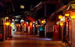 Картинка Япония, фонари, Japan, ночная улица, Miyajima
