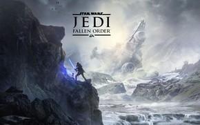 Картинка горы, истребители, световой меч, космический корабль, Star Wars Jedi: Fallen Order