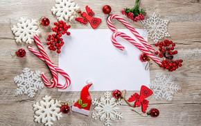 Картинка шарики, снежинки, ягоды, Рождество, Новый год, леденцы, лист бумаги