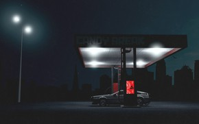 Картинка Авто, Ночь, Музыка, Город, Машина, Стиль, DeLorean DMC-12, Арт, Заправка, Art, 80s, Style, DeLorean, DMC-12, …