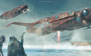 Картинка Зима, Снег, Люди, Корабли, Fantasy, Арт, Art, Космический Корабль, Фантастика, Concept Art, Spaceship, Снегопад, Vehicles, …