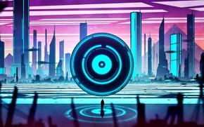 Картинка город, человек, здания, водоём, Future