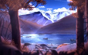 Картинка осень, вода, деревья, горы, природа, JellySnek