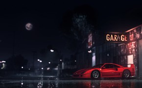 Картинка Красный, Авто, Ночь, Игра, Машина, Ferrari, Need for Speed, Суперкар, Рендеринг, Ferrari F40, Game Art, …