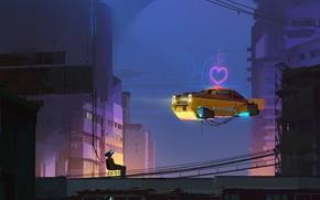 Картинка Город, Сердце, Человек, Машина, Стиль, City, Car, Fantasy, Такси, Арт, Art, Style, Фантастика, Fiction, Heart, …