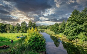 Картинка отражение, природа, деревья, вода, лето, небо, река, облака