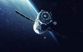 Картинка Станция, Космос, Земля, Surface, Арт, Space, Art, Earth, Поверхность, Station, Орбита, Союз, Космический корабль, Spaceship, …