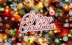 Картинка снежинки, праздник, рисунок, текстура, огоньки, Рождество, сладости, Christmas, картинка, холст, открытка, еловые ветки