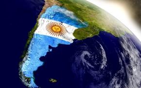 Картинка South America, sun, blue, white, Argentina, flag