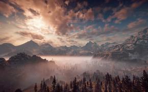 Картинка небо, пейзаж, горы, туман, утро, Horizon Zero Dawn