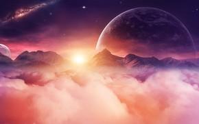 Картинка space, universe, moon, sky, digital, mountains, stars, night sky, planet