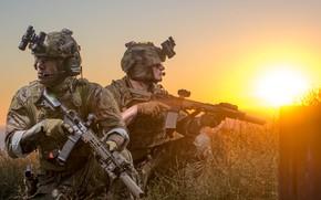 Картинка закат, армия, солдаты