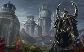 Картинка Эльфийка, Fantasy, Warcraft, Blizzard, Эльф, Арт, Art, Night Elf, Фантастика, WarCraft, Concept Art, Elf, Characters, …