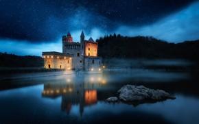 Картинка небо, ночь, замок, Франция, звёзды, Луара