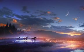 Обои животные, небо, вода, облака, деревья, пейзаж, горы, луна, лошади, арт