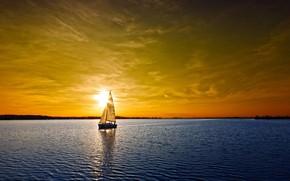 Картинка море, небо, яхта