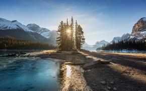 Картинка солнце, лучи, деревья, пейзаж, горы, природа, озеро, камни, ели, Канада, тени, Альберта, Jasper, леса, национальный …