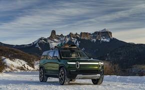 Картинка снег, горы, SUV, 2019, Rivian, R1S