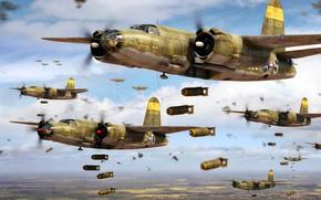 Картинка США, Marauder, WWII, Бомбардировка, B-26, Авиабомбы, Тактический бомбардировщик