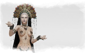Картинка девушка, украшения, фон