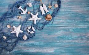 Картинка сеть, рыболовная, морские, фон, украшение, звезды