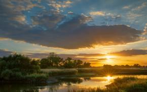 Картинка лето, небо, трава, солнце, облака, лучи, свет, закат, природа, отражение, река, рассвет, берег, вечер, утро, …