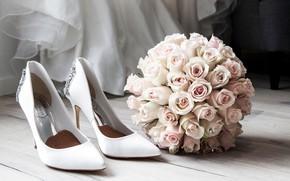 Картинка цветы, розы, букет, туфли, невесты