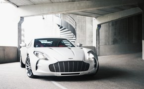 Картинка Суперкар, White, Parking, Aston Martin One 77