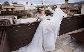 Картинка крыша, город, модель, платье, невеста