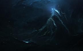 Картинка Звезды, Космос, Туманность, Fantasy, Арт, Stars, Space, Art, Planet, Фантастика, Nebula, The Beacon, StarkitecktDesigns, by …