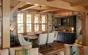 Картинка интерьер, кухня, столовая, Wisconsin, bark house