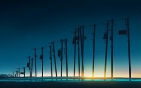 Картинка небо, вода, солнце, столбы, постапокалипсис, by Gracile