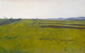 Картинка масло, картина, холст, 1922, Willem Witsen, Виллем Витсен, Пейзаж с пахотными полями