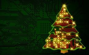 Картинка свет, украшения, линии, огни, зеленый, сияние, полосы, фон, праздник, графика, блеск, микросхема, новый год, ель, …